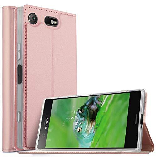 Verco Handyhülle für Xperia XZ1 Compact, Premium Handy Flip Cover für Sony Xperia XZ1 Compact Hülle [integr. Magnet] Book Hülle PU Leder Tasche, Rosegold