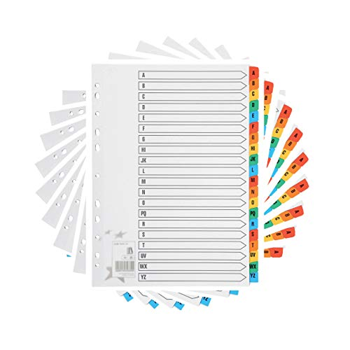 [10 Pack] A4 File Dividers A-Z Tabs | A4 Subject Dividers A-Z with Multipunched Reinforced Colour Tabs 150gsm