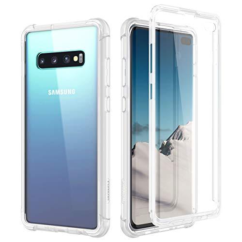 SURITCH Kompatibel mit Samsung Galaxy S10 Plus Hülle Transparent, 360 Grad Stoßfest Schutzhülle, Durchsichtig Handyhülle Hybrid Rundumschutz mit Displayschutz und Silikon TPU Matt Bumper Klar
