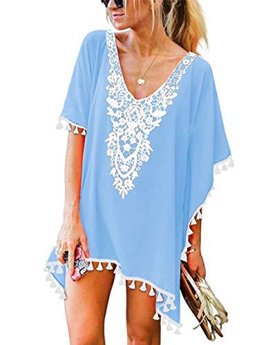 CPOKRTWSO Women's Summer V Neck Casual Mini Dress Swimwear Beach Cover Up Sky Blue 2XL / 3XL