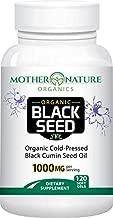Organic Black Seed Oil 1000mg - 120 Softgel Capsules (Non-GMO) Premium Cold-Pressed Nigella Sativa - Black Cumin Seed Oil with Omega 3, 6, 9 - Darkest, Highest TQ Content