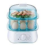XXDTG Cocina eléctrica de Huevo Caldera, Verduras al Vapor, rápidamente Hace Que los Huevos, Duro, Medio o hervido Suave, Bandeja Caza furtiva/Tortilla incluida, alista señal, sin BPA