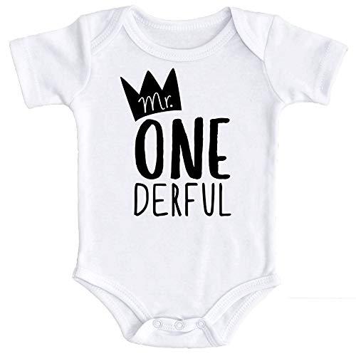 Mr One-Derful Baby Boys 1st Birthday Onesie First Birthday Onesie for boys, White, Onesie, 12-18 mo. Short sleeve