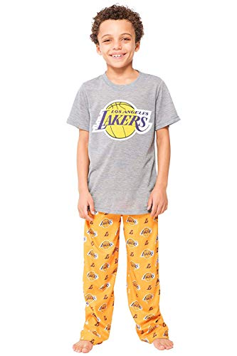 Ultra Game NBA Los Angeles Lakers Boys 2 Piece Pjs Lounge Pants & Tee Set, Gold, 14-16