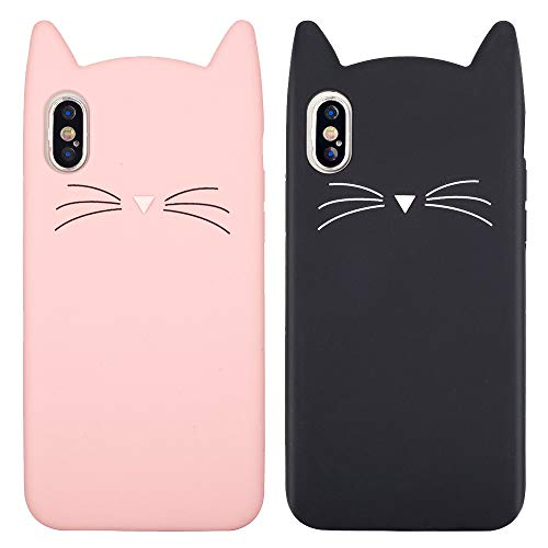 LCHULLE 2 Pack for iPhone X iPhone Xs Cat Case Lovely Cute 3D Cartoon Meow Cat Ears Ultra Slim Soft Silicone Case Anti-Scratch Shockproof Protective Case Cover for Girls Women - Pink & Black