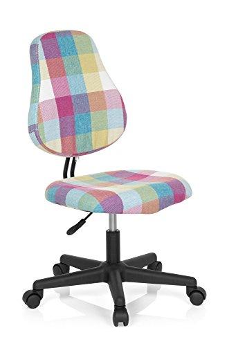 hjh OFFICE 634760 Kinder Schreibtischstuhl KIDDY Square Stoff Bunt Kinderdrehstuhl gepolstert, mitwachsend