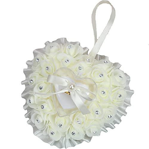 YLCJ Elegante Flores Rosadas Rhinestone Caja De Anillos Almohada Portadora Cinta Ceremonia Boda Accesorios Elegante Forma del Corazón Cojín Nupcial Matrimonio-Amarillo