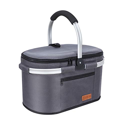 Liqing 32L Premium Kühltasche Picknicktasche Groß Faltbar Isoliertasche Picknickkorb Thermo Tasche Kühlkorb für Lunch Camping Reisen Einkauf (Grau)