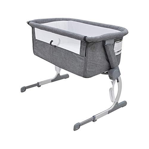 WJMLS Cuna del bebé, Cuna portátil Incluye Bolsa de Viaje, de 1,2' colchón Firme, Hoja Transpirable y 7 de Altura Ajustable, Valla portátil móvil del bebé de Cama