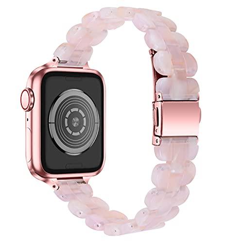 AISPORTS Compatible para Apple Watch Correa 40mm 38mm de Resina, Pulsera Delgada de Moda de Acero Inoxidable con Hebilla de Metal Correa de Repuesto para Apple Watch SE/iWatch Series 6/5/4/3/2/1