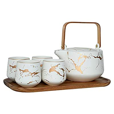 Sunddo White Marble Tea Service Set Ceramic Large Tea Pot (40 OZ), 4-Piece Tea Cups (6.7 OZ) with Wooden Tray - Modern Teapot, Tea Cups Set for Home and Office