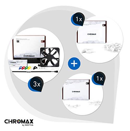 Noctua chromax Paquete Blanco: 3X NF-S12A PWM chromax.Black.Swap, Ventilador 4 Pines (120 mm) + NA-SAVP1 / NA-SAV2 chromax.White