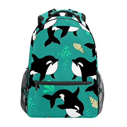 School Backpack Underwater Life Black Whale Casual Travel Laptop Daypack Canvas Book Bags for Woman Girls Boys Student Adult Men