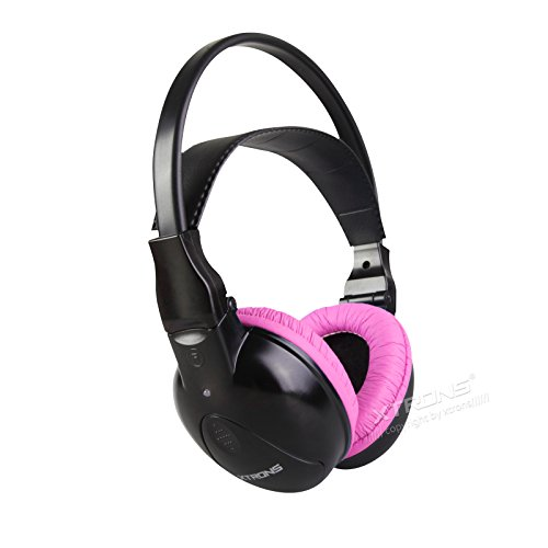 XTRONS IR Kopfhörer Kabellose Wireless Dual Channels Infrarot-Stereo-Kopfhörer für Kinder 2 Farbenauswahl (Rosa)