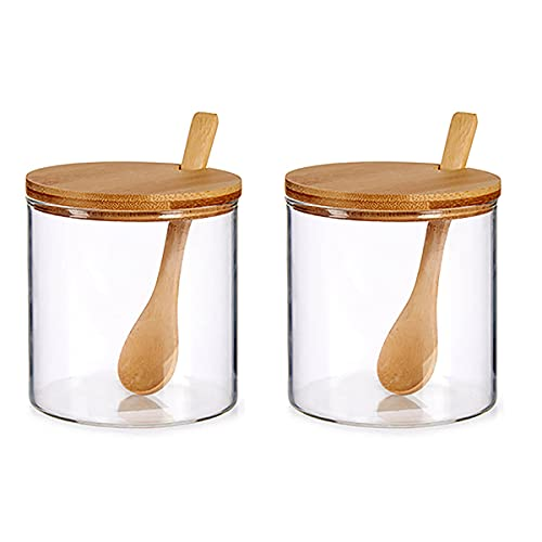 Set Azucarero Salero de mesa, 2 unidades azucarero y Salero. Especieros para cocina con cuchara de madera de Bambú. Azucarero moderno con tapa de madera (2)