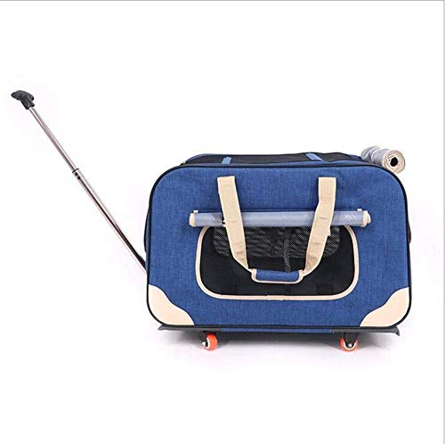 Pet Trolley, Pet Trolley Case Pet Travel Trolley Backpack Bag Collapsible Telescopic Handle Portable Stroller (Color : C) Firm