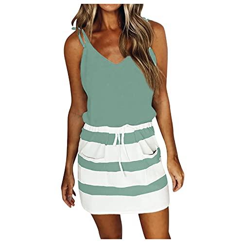 YLLQXI Damen Kleid mit V-Ausschnitt Elegant Kurze Strand Freizeitkleider Sommerkleid Streifen Loose T-Shirt Kleid Minikleid Oberteile Sommer Stretch Dress Frauen Slim Kleid