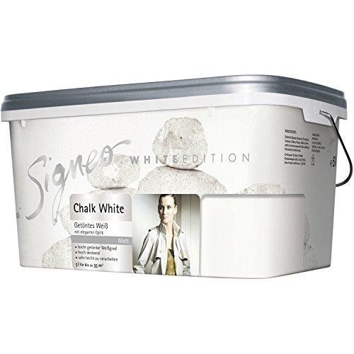 Signeo White Edition, Wandfarbe 5 L. CHALK WHITE, Kalk Kreide Weiß, matt, getöntes Weiß, Innenfarbe