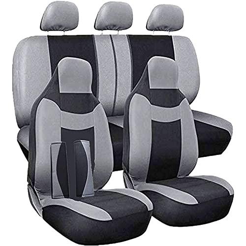 Fundas de Asiento de Coche Universales Fundas de Asiento Gris Negro Asientos Bolsas de Aire Protectoras Interiores Compatibles Lavable Compatible para Coches SUV y Camiones