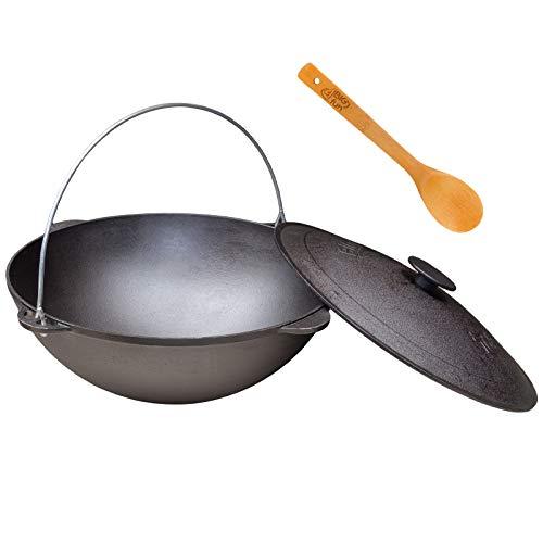 Schwenktopf Kazan 18L Camping Gusseisen mit Bügel und Deckel + Kochlöffel Tatarskij Schmortopf Plow BBQ Grillen Kohle Kessel Außenküche Feldküche Zelten Gulasch