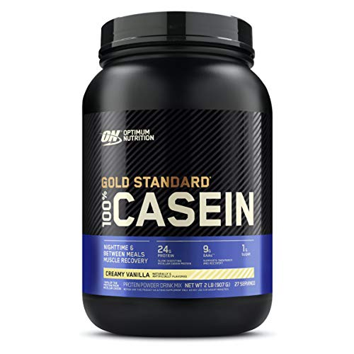 Optimum Nutrition Gold Standard 100% Micellar Casein Protein Powder, Slow Digesting, Helps Keep You Full, Overnight Muscle Recovery, Creamy Vanilla, 2 Pound (Packaging May Vary)