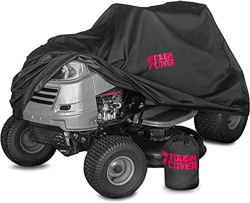 Tough Cover Premium Lawn Tractor Cover for 48' Deck. Heavy-Duty 600D Marine Grade Fabric Featuring...