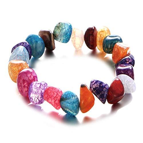 Urne - Pulsera irregular de perlas de colores para mujer, con pulsera elástica, pulsera de joyas, pulsera multicolor, para mujer