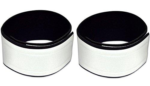 Neopren Reflektorbänder (2er Set) - Große Reflektorfläche - Sehr Hell, Komfortabler Sitz - Zum Radfahren, Laufen, Joggen, oder Wandern - Reflektorstreifen Beinschutz zum Radfahren