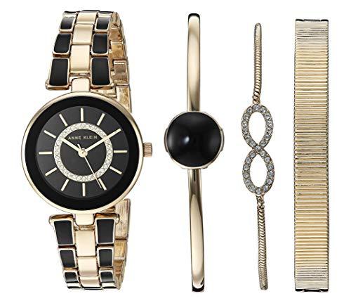 Reloj Anne Klein Swarovski Crystal Accented set con Pulsera para Mujer, pulsera de Acero Inoxidable