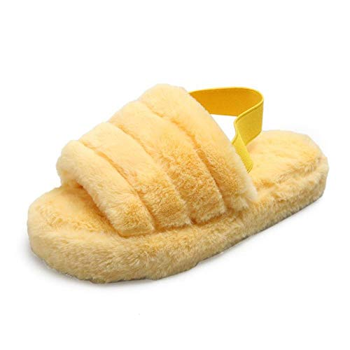 Zquest ,Large-Size Thick-Soled Fur Shoes, Ladies Warm Slippers-Yellow_38-39