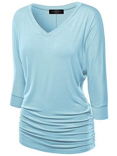 Made By Johnny Women's V-Neck/Boat Neck 3/4 Sleeve Drape Dolman Shirt Top with...