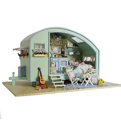 qianqian Puppenhaus-Miniatur Mit Möbeln, DIY-Puppenhaus-Kit Aus Holz, Einschließlich LED-Licht, Kreativraum Im Maßstab 1: 24, Modell-Kreativgeschenke | Zeitreise |