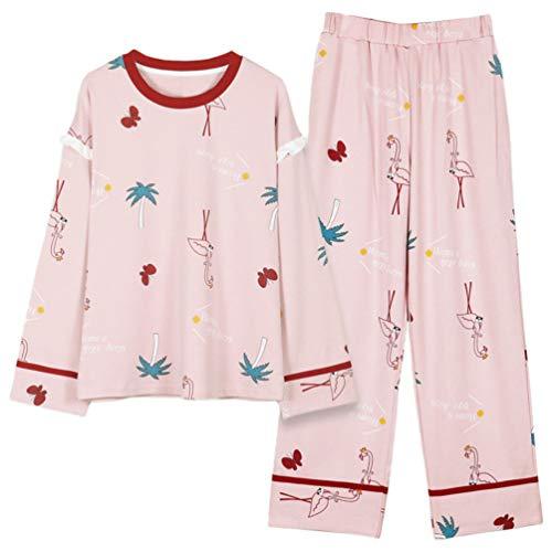 SOIMISS Conjunto de Ropa de Dormir de Manga Larga para Mujer Pijama de 2 Piezas con Estampado de Flamencos Rosa