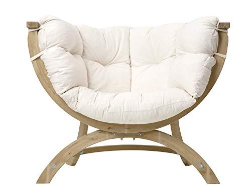 AMAZONAS Lounge Sessel Siena UNO Natura aus FSC Fichtenholz ca. 120 x 95 x 60 cm bis 150 kg in Weiß
