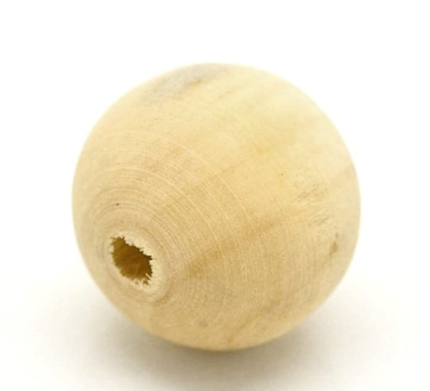 100 Round Unfinished Natural Wood Beads 20mm Diameter Bulk Pack 3.8mm Large Hole