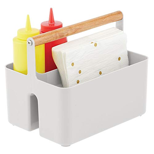 mDesign Plastic Portable Storage Organizer Kitchen Caddy Tote Divided Basket Bin with Wood Handle for Ketchup Mustard Napkins Condiments Sauces Oils - Store in Cabinets Countertops - Light Gray
