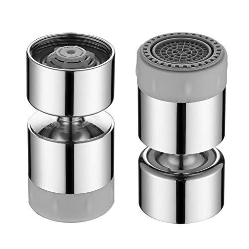 xqkj Kitchen Sink Faucet Aerator Solid Brass 360° Swivel Dual-function Water Tap Nozzle Bubbler Water Soft Bubble Stream 24 Female Thread Unified Splash Filter