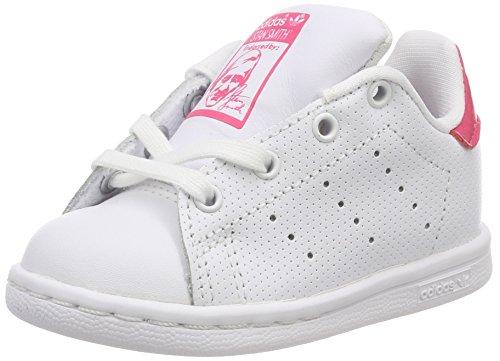 adidas Unisex Baby Stan Smith Sneaker, Weiß (Footwear White/Real Pink 0), 23.5 EU