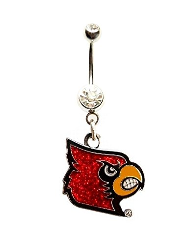UNIVERSITY OF LOUISVILLE CARDINALS GLITTER Navel Belly Button Ring Body Jewelry Piercing