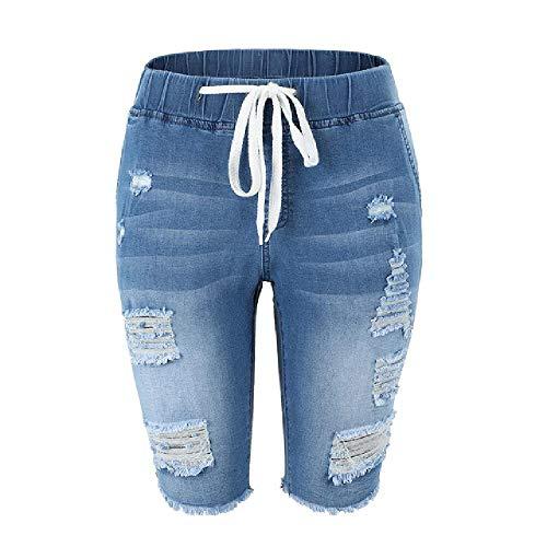 Pantalones Cortos Rasgados de Mezclilla de Verano Mujeres Cierre de cordón Azul Jeans angustiados hasta la Rodilla Pantalones Cortos elásticos