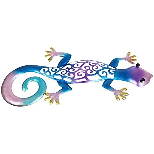 Cabilock Gecko Do Metal Decoração Da Parede de Suspensão Da Arte Da Escultura De Parede Ao Ar Livre Indoor