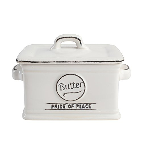 T&G Woodware Pride of Place Deep Lidded British Butter Dish, White