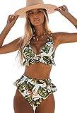 Sporlike Ruffle High Waisted Swimsuit Women Triangle Top Bikini Padded Swimwear(Floral 4/Green,Medium)