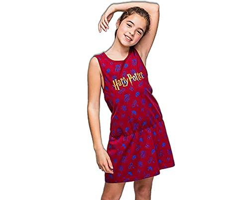 Harry Potter Vestido de Niña, Vestido Manga Corta, Ropa para Niñas, Vestido de Verano, Regalo de Niña, Talla 10 Años