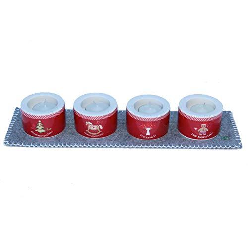 Adelheid - 4 weihnachtliche Teelichthalter mit Filzdeckchen