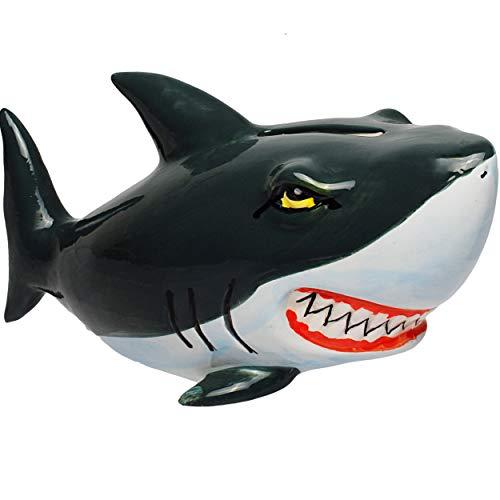 alles-meine.de GmbH Spardose - Hai Fisch - aus Porzellan / Keramik - 16 cm - Sparschwein - für Kinder & Erwachsene - stabile Sparbüchse Kinderspardose / groß lustig witzig - Fisc..