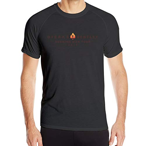 Ceasinng Mens Cycling Close-Fitting Design with Dierks Bentley Quick-Dry T Shirts L Black