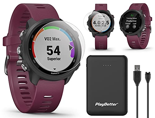 Garmin Forerunner 245 (Berry) Power Bundle | +HD Screen Protectors & PlayBetter Portable Charger | Advanced Analytics, Heart Rate | Running GPS Watch | 010-02120-01