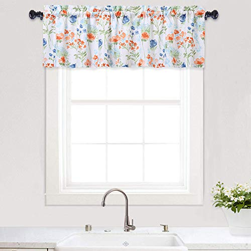 Haperlare Floral Print Valances for Windows, Watercolor Flowers Design Valance Curtains for Kitchen Cafe Curtains Bathroom Window Curtains, 54' x 15', Blue/Grey, One Panel