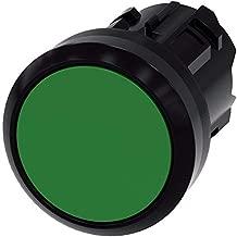 Siemens 3SU10000AA400AA0 Pushbutton, 22mm, Plastic, Maintained, Flush, Green